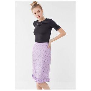 UO Iris Floral Ruffle Mom Skirt